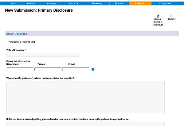 New Submissions - Primary Disclosure