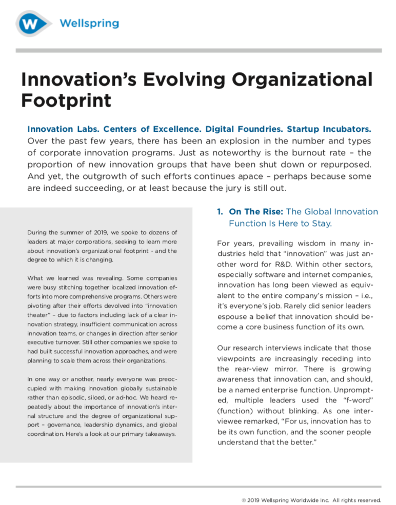 Innovation's Evolving Organizational Footprint white paper