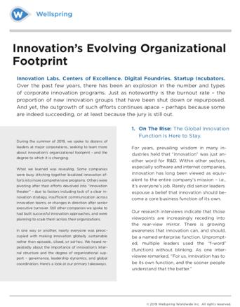 Innovation's Evolving Organizational Footprint white paper