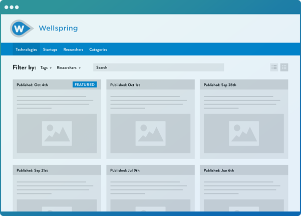 Dashboard showing how Wellspring software allows users to market and license their inventions.