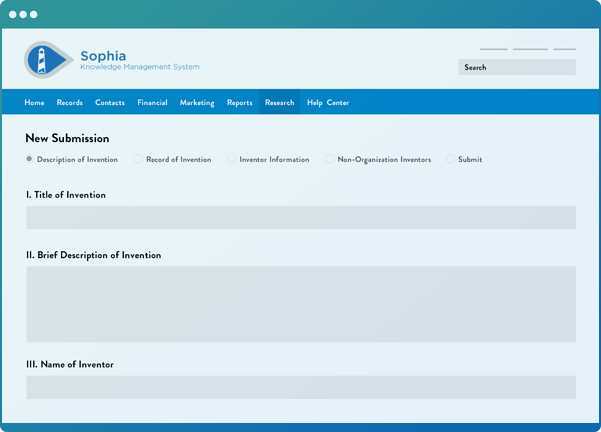 Wellspring software showing a disclosure submission form