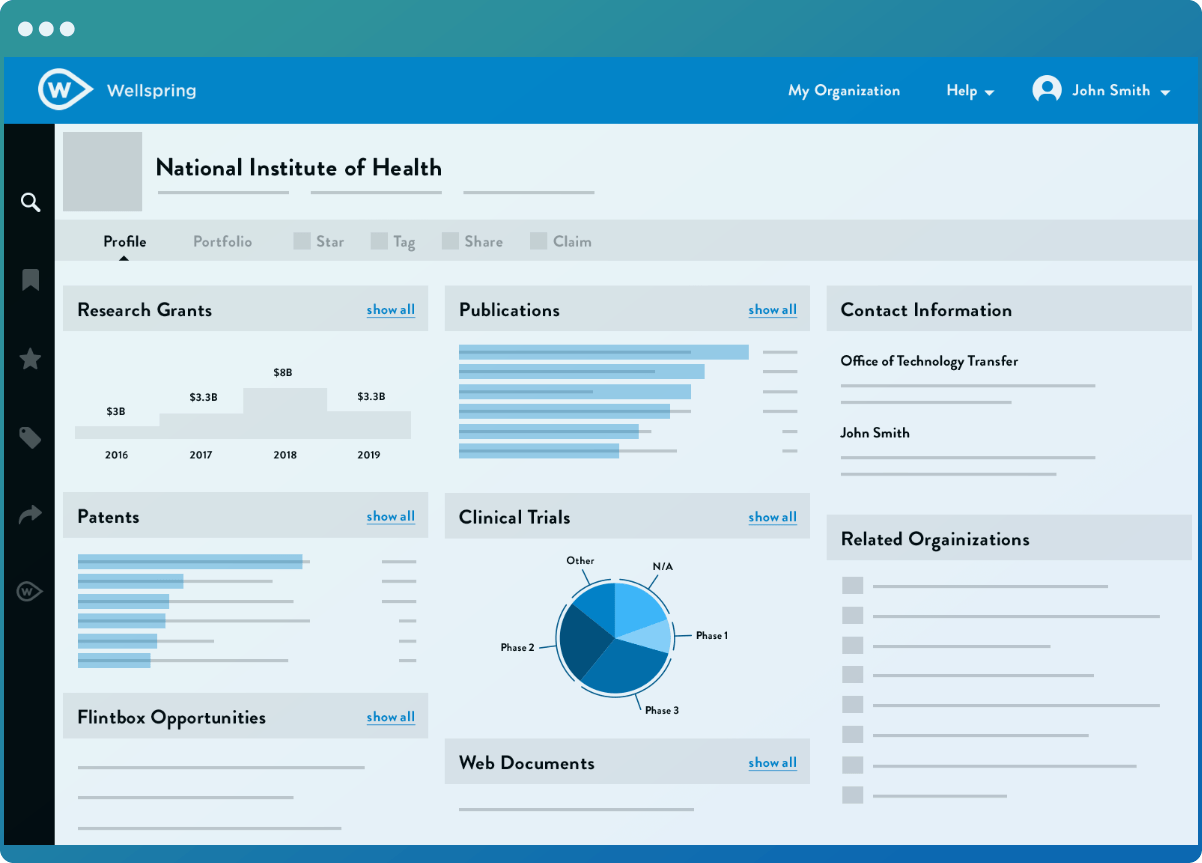 Wellspring's Scout tool showing data groups profiling the technology and innovation portfolios of a health organization.
