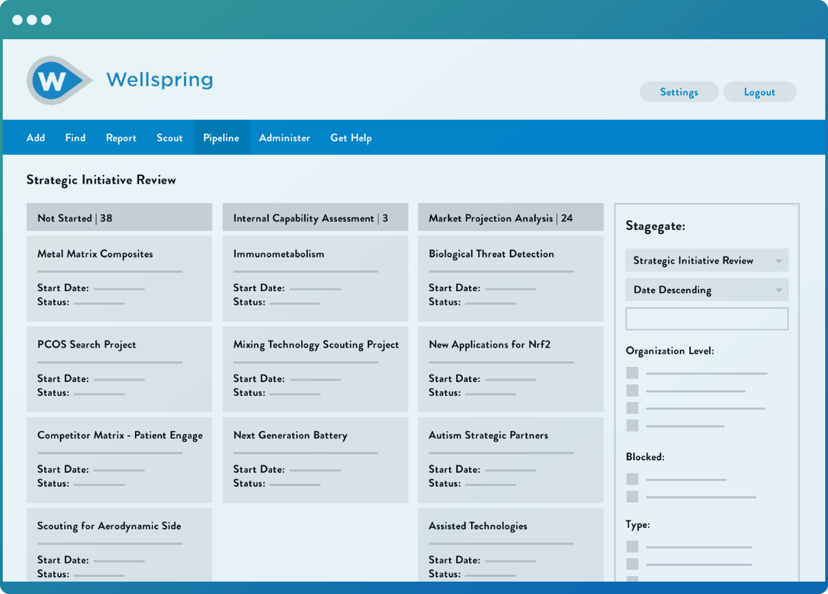 Wellspring software showing all of the projects in the user's scouting pipeline.