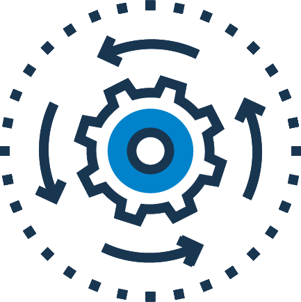 cog with four arrows surrounding it indicating the cog is turning counterclockwise